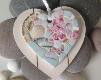 Mosaic heart hanging ornament