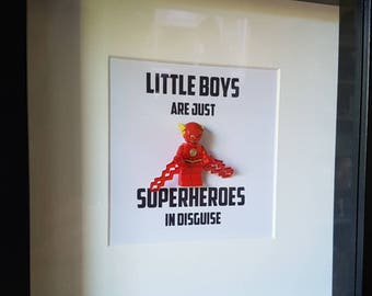 Superhero//The Flash//Shadow Box Frame//Little boys//Minifigures//Gift//Brothers//For Him//Birthday//Personalise//Geek//Kids Room//Nursery