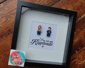 Shadow Box Frame//Superhero//Superman//Superwoman//Minifigure//Lego//Kryptonite//DC Fans//Personalise//Engagement//Anniversary//Love