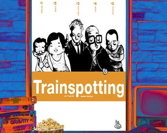 "Movie poster illustrated ""Trainspotting"""