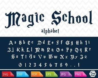 Harry Potter Font Svg Magic School Monogram Font Svg Hogwarts Letters Svg Harry Potter Gift Svg Cricut Cuttable Dxf Font for Silhouette