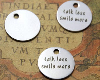 10pcs talk less smile more charm silver tone message charm pendant 20mm ASD2192