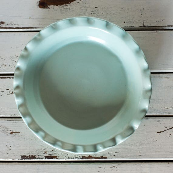 Handmade Ceramic Pie Plate Pan Dish Ruffled Rim Ready to Ship