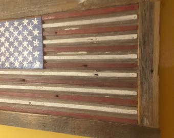Shipping included! Fourth of July Decor! Handmade reclaimed barnwood rustic flag! Celebrate the 4th of July with this beautiful piece!