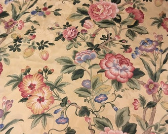 """Vintage - Jay yang for spectrum fabric """"Jonquil""""- peony, jonquil, and morning glories on pale yellow embossed lightweight fabric"""