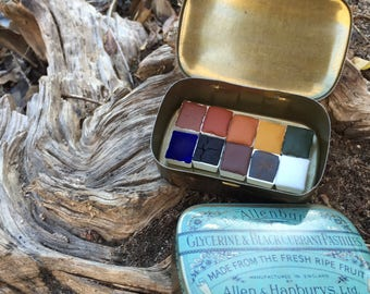 The Winter Canyon Set.  A handmade watercolor paint set featuring 10 half pans in a vintage tin