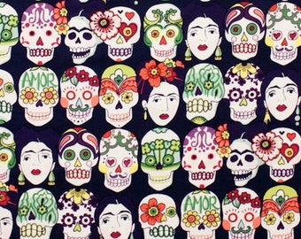 Drops of eggplant love. Canvas. Cotton fabric. Alexander Henry's fabric. Frida's fabric. Mexican fabric. Fabric for sewing. Skulls