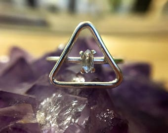 Sterling Silver Triangle Ring - Herkimer Diamond Add On