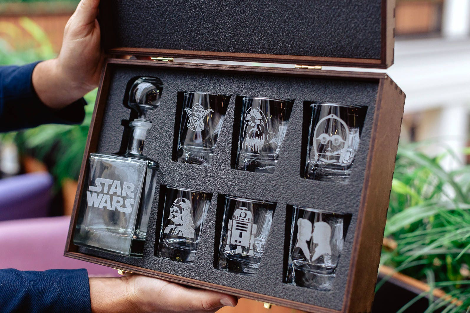Star Wars Gift Glass Whiskey Decanter Set Personalized