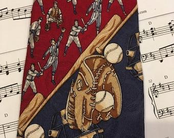 Vintage Baseball Theme Necktie, Baseball Tie, Sports Tie