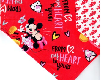 Mickey & Minnie Love | Valentines Day Dog Bandana | Dog Bandana | Puppy Bandana | Pet Bandana | Over the Collar Bandana