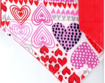 Love Hearts Bandana (Flannel)   Valentines Dog Bandana   Puppy Bandana   Pet Bandana   Over the Collar Bandana