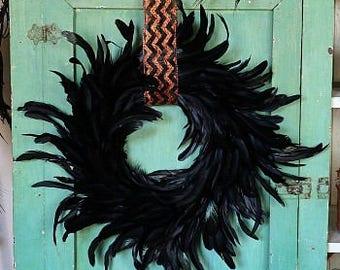 Decorative Black Feather Wreath - WRXHB