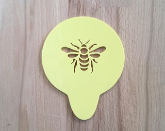 Bee Stencil Honey Bumble Bees Coffee Cupcake Cake Sugar Frosting Decoration Art Cappucino Latte Gift Present