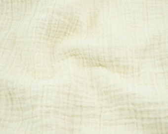 """5 yards Vanilla - a creamy ivory color - Sunny Double Gauze Fabric - 100% cotton muslin swaddle fabric, 52"""" wide"""