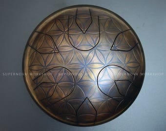 Stell tongue drum  - Flower of life Ø11,8'' E-major. Handpan Tank drum Zen sound Hank drum Propane tank Musical instrument Meditation drum