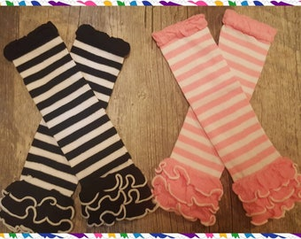 Newborn & Toddler Leg Warmers - Pink/White or Black/White - Can Leave Plain or Add Logo of Choice (Hearts, Name, Arrows, Etc)