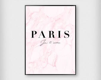 PARIS Je t'aime Marble Print | Fashion | Black - White - Pink | Typography - French - Poster