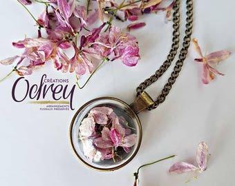 Vintage jewelry, terrarium necklace, eternal, real flower pendant, flower of Miller, blown glass, gem, dome keepsake