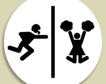 Football player / Cheerleader Bathroom Sign