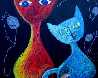 Cats and Mouse-ORIGINAL PAINTING 50x70 cm