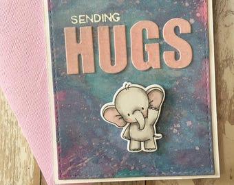 Sympathy card , hand made, colorful , elephant , sending hugs ,