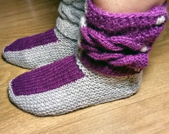 Knitted warm socks, Christmas slippers, Cozy slippers, Mary Jane slippers, Closed toe slippers, Make slippers, Homemade slippers, Slippers