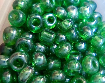 10 green transparent frosted seed beads 8/0 g