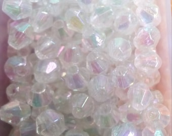 250 faceted bicone beads 4mm white acrylic