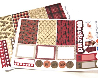 Planner Stickers - Weekly Planner Stickers - Happy Planner - Erin Condren - Buffalo Plaid - Lumberjack - Deer Stickers - Christmas
