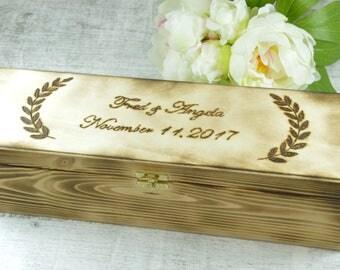 Wine Box Wedding Wine Box Ceremony Wedding Anniversary Wine Box First Fight Wine Box Custom Wood Wine Box Wedding Wine Gift Rustic Wine Box