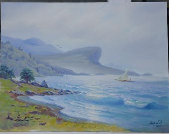 """Picture """"White sail"""". Oil on canvas."""