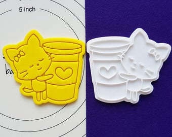 Cat holding Coffee Cookie Cutter and Stamp