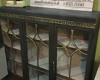 Grey Wooden China Display Cabinet Bookcase with lovely gold detailed carving