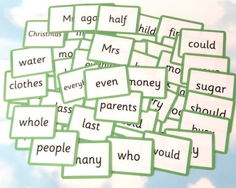 Year 2 Common exception words flash cards, Educational toy, KS1, Learning cards, Children's development, Teaching resource
