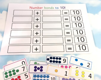Number bonds to 10 learning sheet and cards, KS1, Teaching resource, Educational toy, Number cards, Visual learners, counting, numeracy