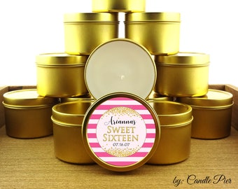 12 ct Sweet Sixteen party favors, 4 oz tin candles, personalized soy candles, hot pink stripes and gold theme, quinceanera favors, prom