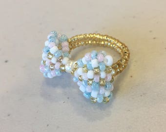 Pretty Bow Beaded Ring, Seed Bead Ring, Handmade Jewelery, Wholesale Rings