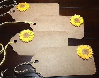 Sunflower Tags, Sunflowers Favor Tags, Sunflower Gift Tags, Autumn Tags, Fall Wedding, Bridal Shower, Engagement Party Tags- 8/order
