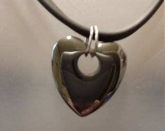 Hematite heart pendant necklace
