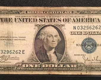 1935 C Blue Seal One Dollar Bill ; Blue Seal ; US Currency
