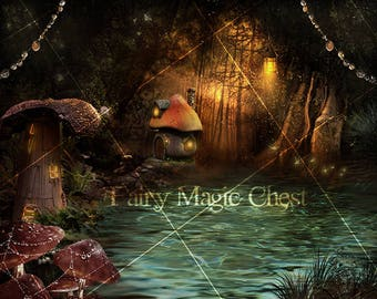Digital background fairy town, digital backdrop fantasy, for composithe photography and manipulation, lake, magical forest. Instant download