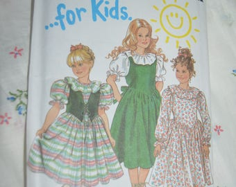 New Look 6329 Girls Special Occasion Dress and Vest Sewing Pattern  UNCUT  Size 3 - 8