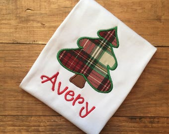 Girl's Christmas shirt, personalized christmas shirt, monogrammed christmas shirt, plaid christmas tree shirt, christmas present shirt,name