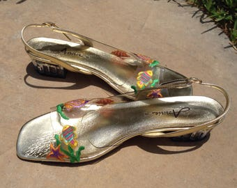 Never Worn Cinderella-Type Clear Heel w/ Beautiful Vibrant Marine-Print