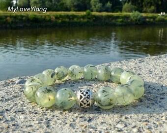 Prehnite Bracelet/Prehnite Jewellery/Green Prehnite/Good Luck/Love and Prosperity/Wealth and Health/Womens Bracelet/Tibetan Bracelet