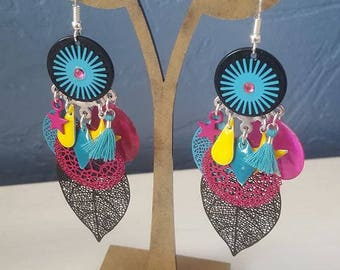 Earrings, black and multicolored