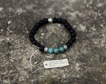 Turquoise and Lava stone Diffuser Bracelet