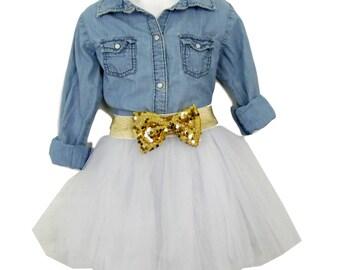Children Knee length tulle skirt, various colors (aqua shown) , tutu skirts, wedding skirts, plus size