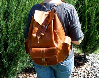 Vintage brown tan leather backpack-leather rucksack-leather backpack men women-office travel school rucksack-leather backpack purse